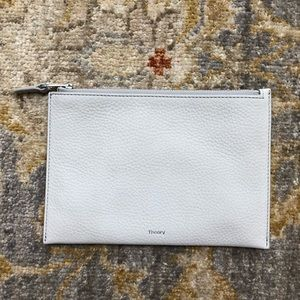 Theory medium zip pouch grey leather